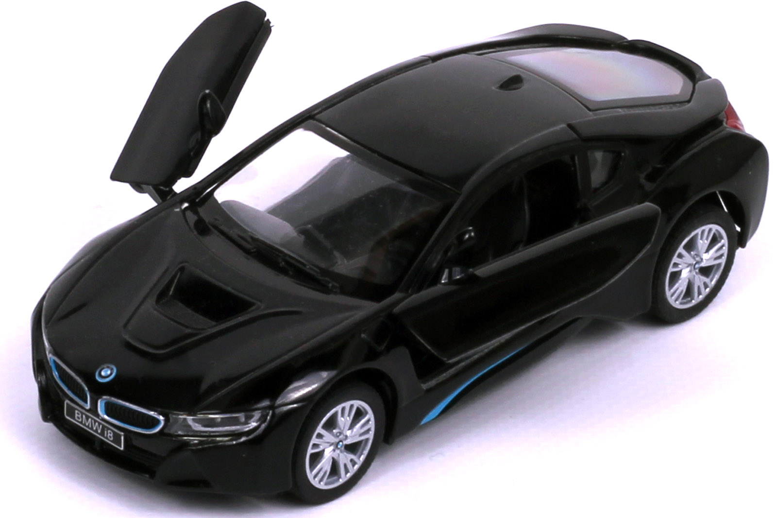rastar 1 43 bmw i8 elektroauto modell schwarz ebay. Black Bedroom Furniture Sets. Home Design Ideas