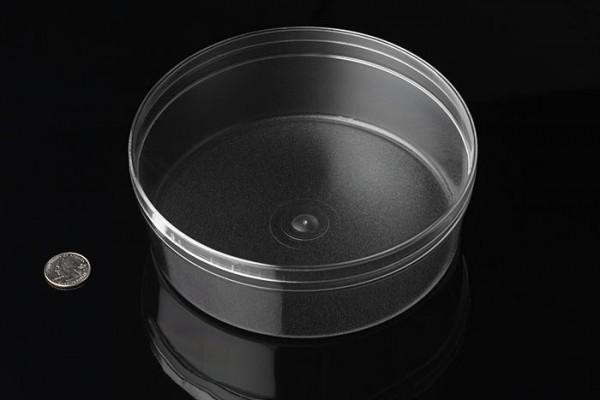 Runde Kunststoffbox mit mattiertem Boden (Groß), 17,5cm x 6,7cm