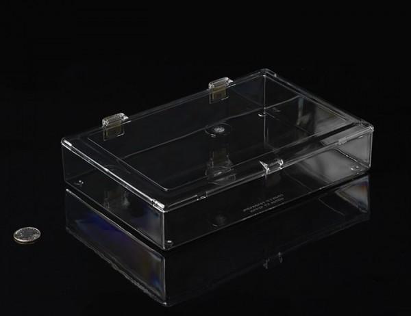 Eckige Kunststoffbox mit Klappdeckel und Schnappverschluss, 24cm x 16cm x 4cm
